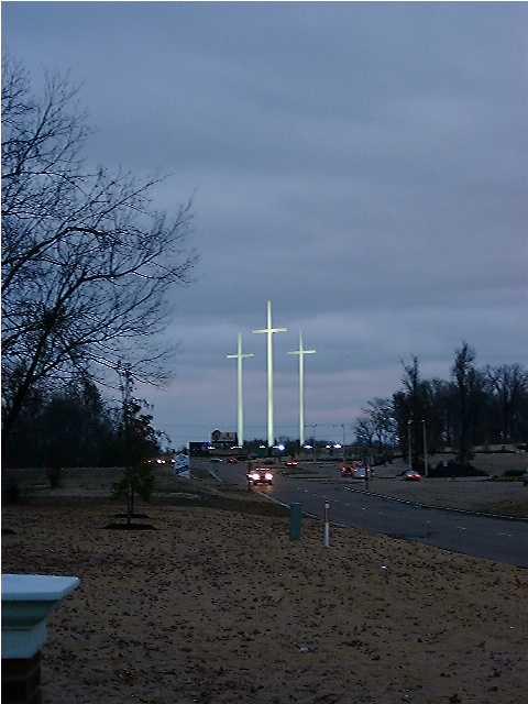 Three Crosses at Night